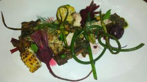Heritage pork blade, sweet and sour Swiss chard, sea salt boiled beets, corn, charred garlic scape, minted beet top  pesto with walnut, aromatics by Executive Chef Scott Walton while visiting his mother Sue in Ottawa over the holiday